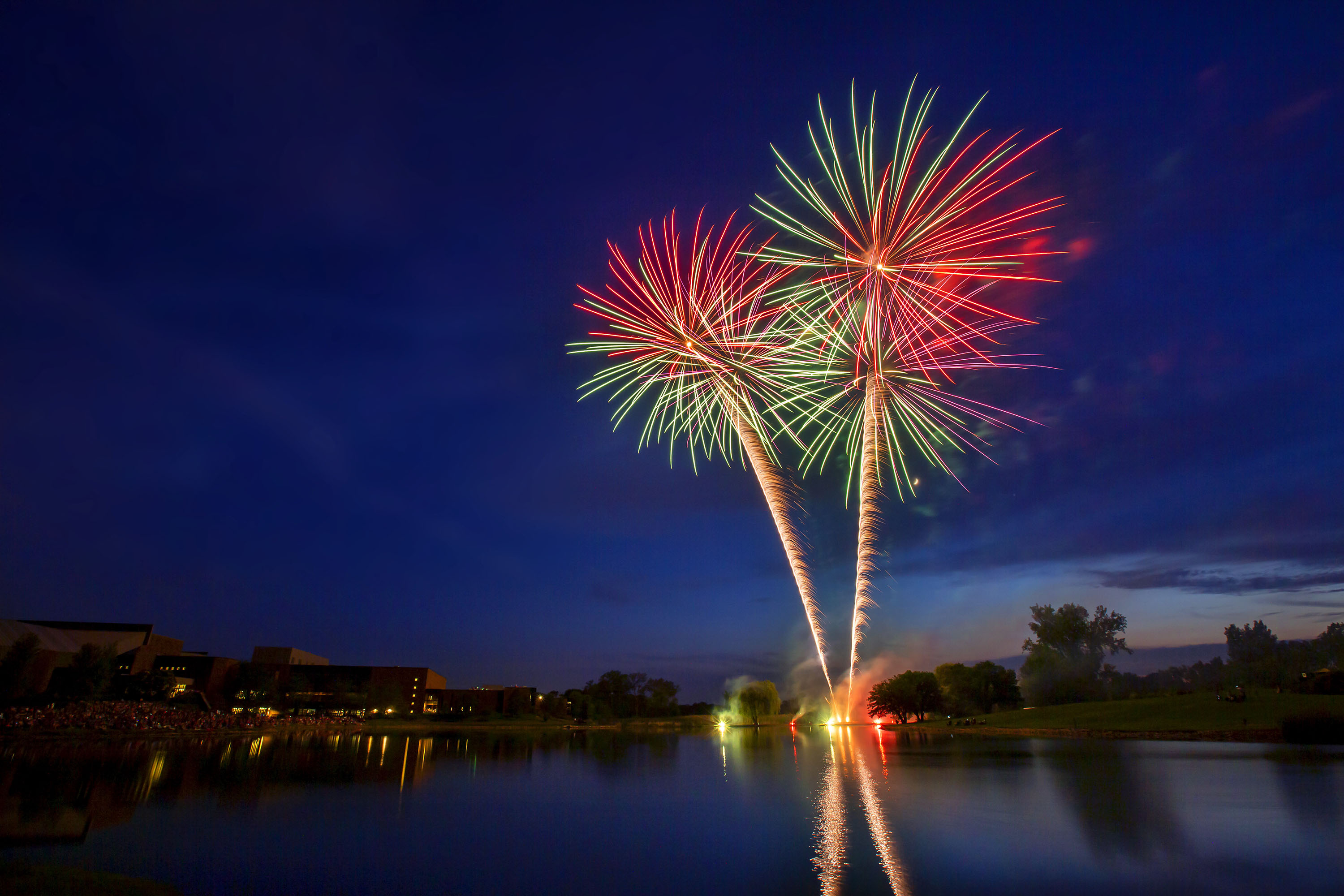 Fireworks at Willow Creek Community Church in South Barrington.. (Photo by Rich Chapman)